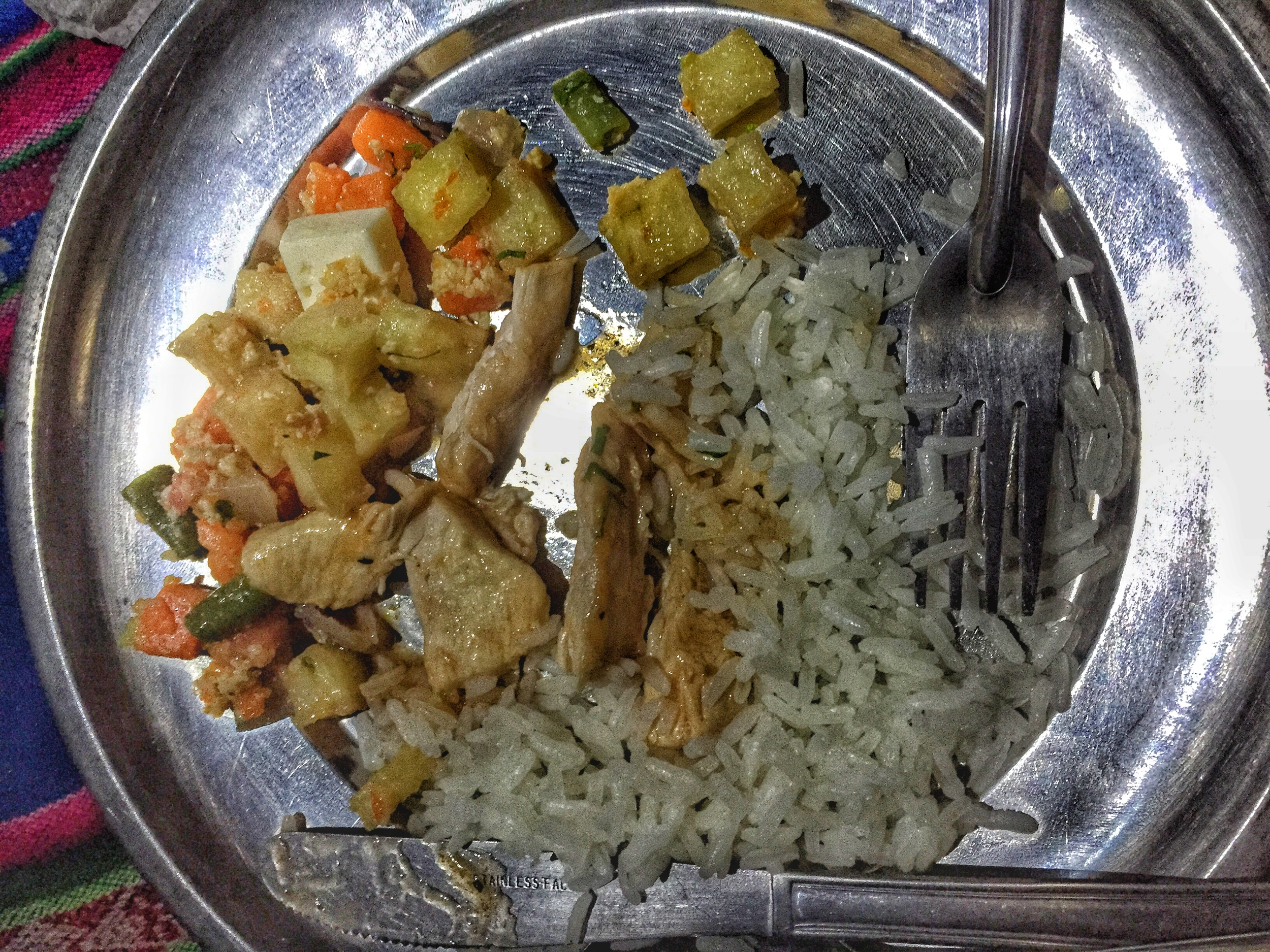Food was prepared to ensure we had enough fuel for each portion of our hike. Carbohydrates from rice, potatoes and vegetables were a staple of our meals.