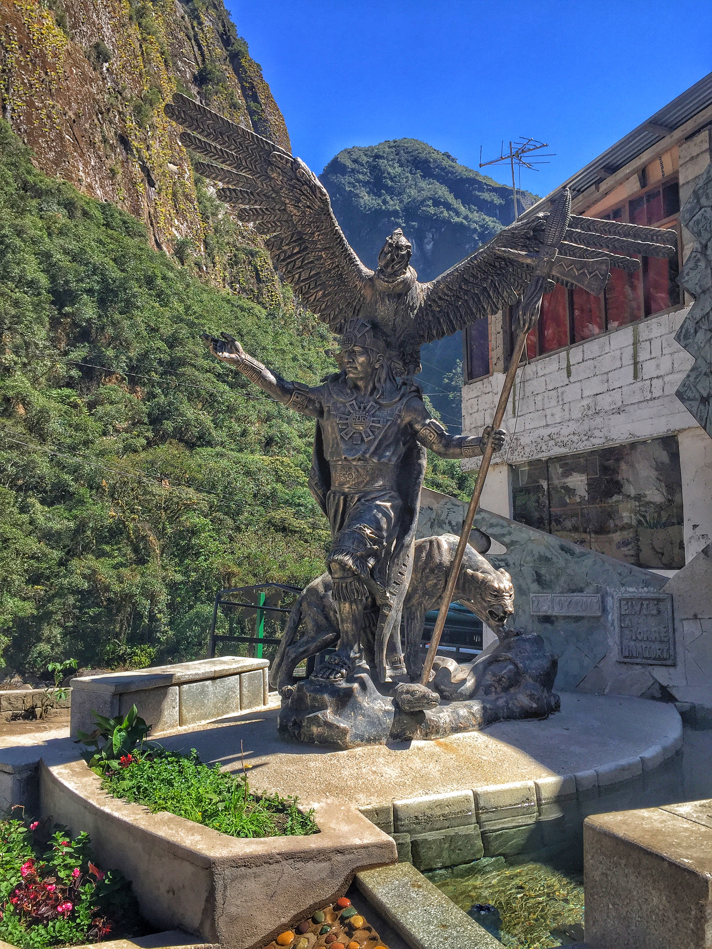 Statue at Aguas Calientes depicting the 3 animals the Incas worshiped.