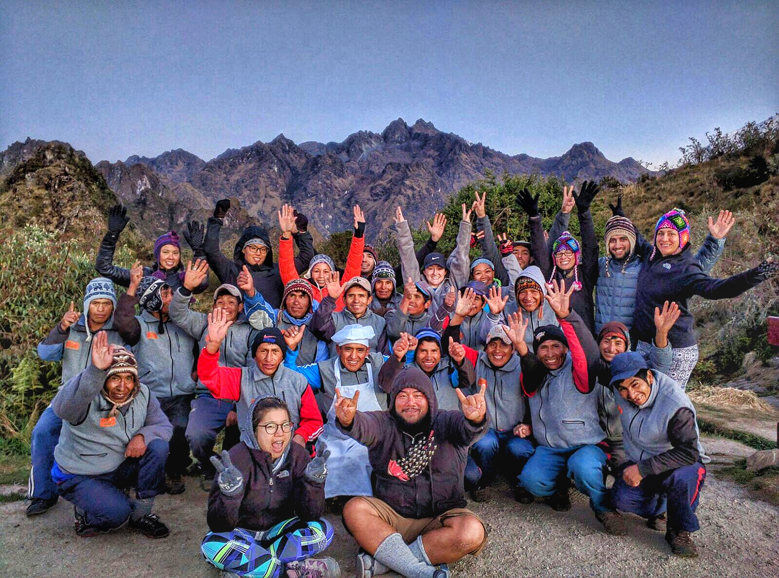 The cast and crew of the hike. We could not have done this with the support of one another. Our porter and kitchen crew were on top of their game. The porters carried not only our belongings up and down steep inclines without breaking a sweat, they set up our camps and made us feel comfortable in the Andes.