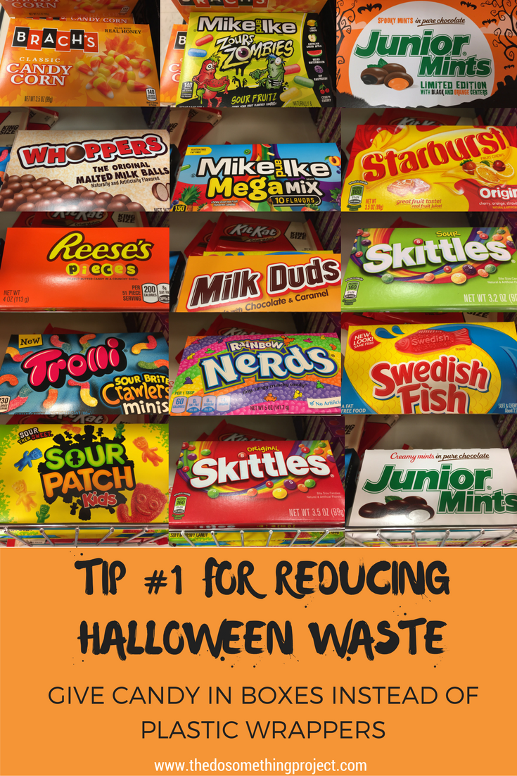 One option to reduce plastic waste during Halloween is to give out those movie theater boxed candy.