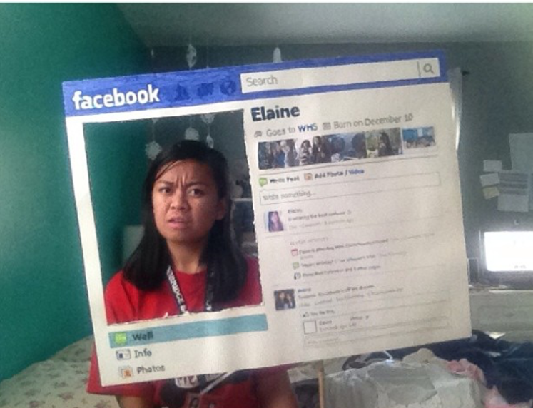 Here's my younger sister going as a Facebook profile. She was very meta!