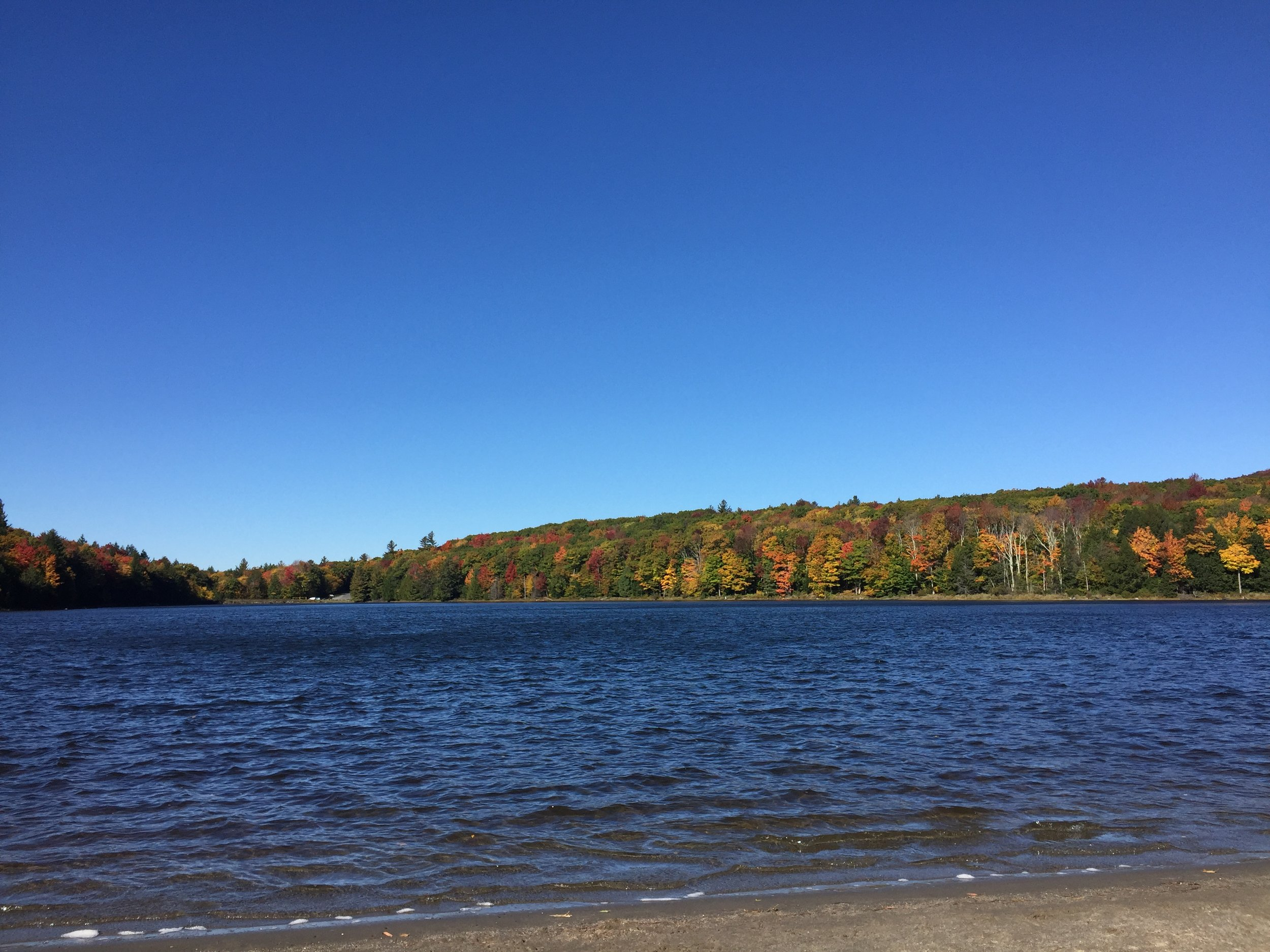 The South Lake under blue skies. The wind was whipping, but the colors were wonderful.