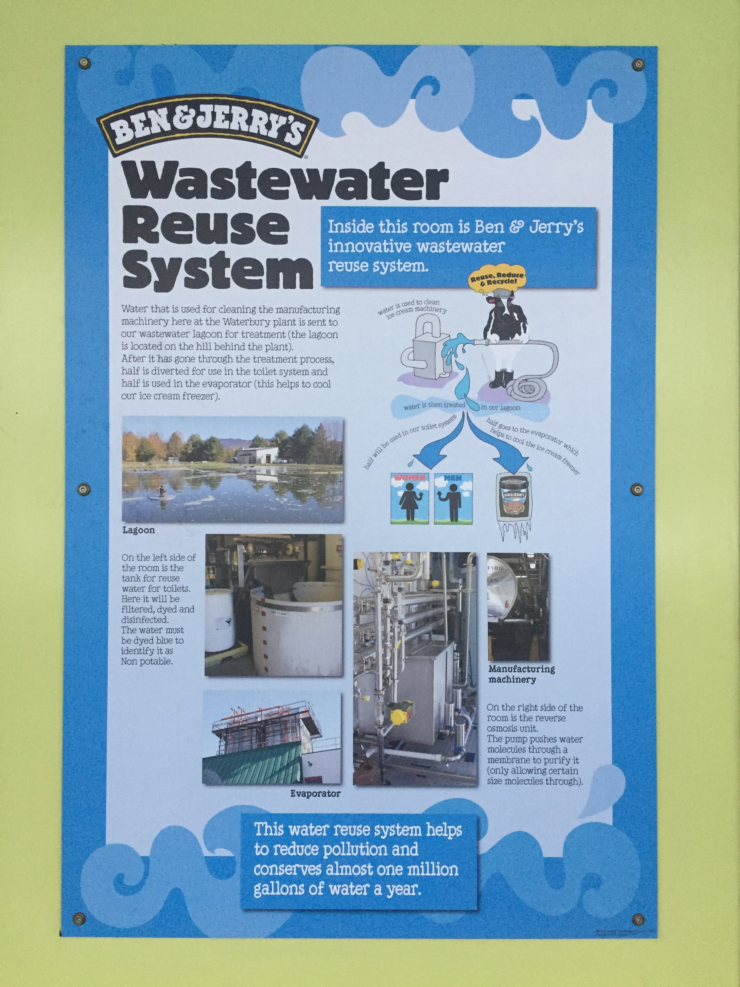 Ben & Jerry's reusing their water and keeping lakes around them clean.