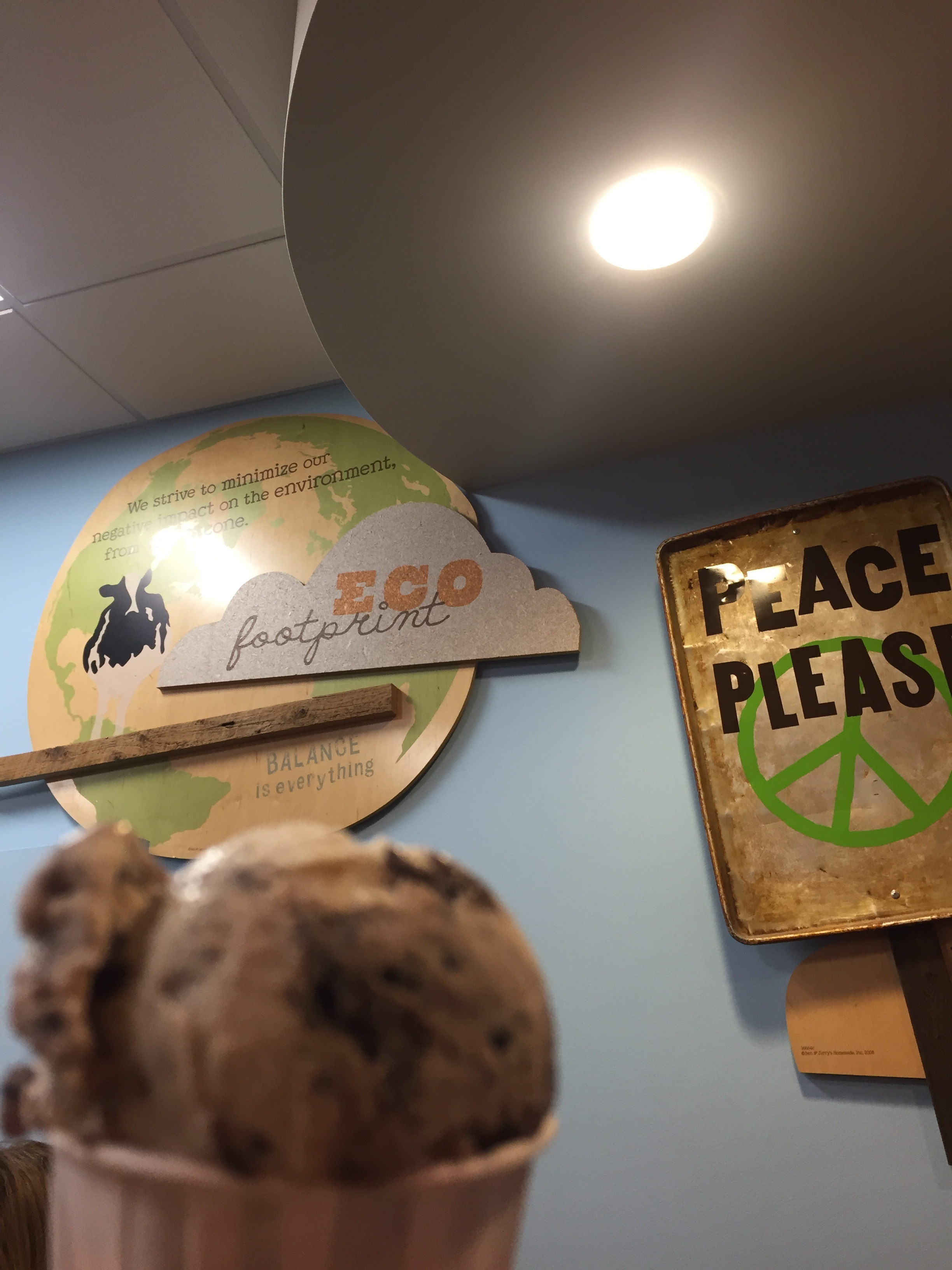 Sample of ice cream in the original room where Ben & Jerry's flavors were started.