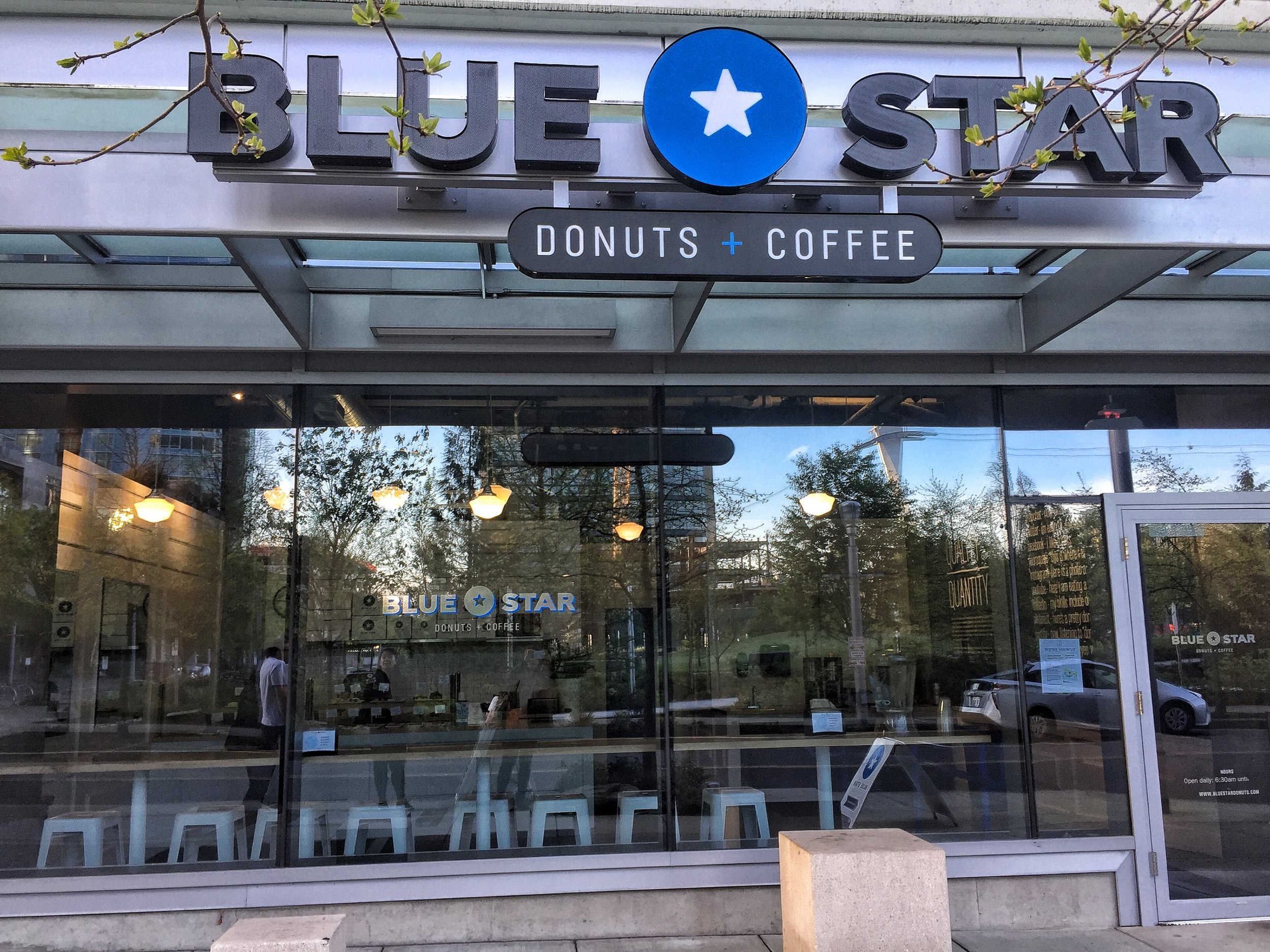 Blue Star Donuts South Waterfront. They open early at 6:30AM so stop by before starting your day exploring Portland. No line and fresh donuts.