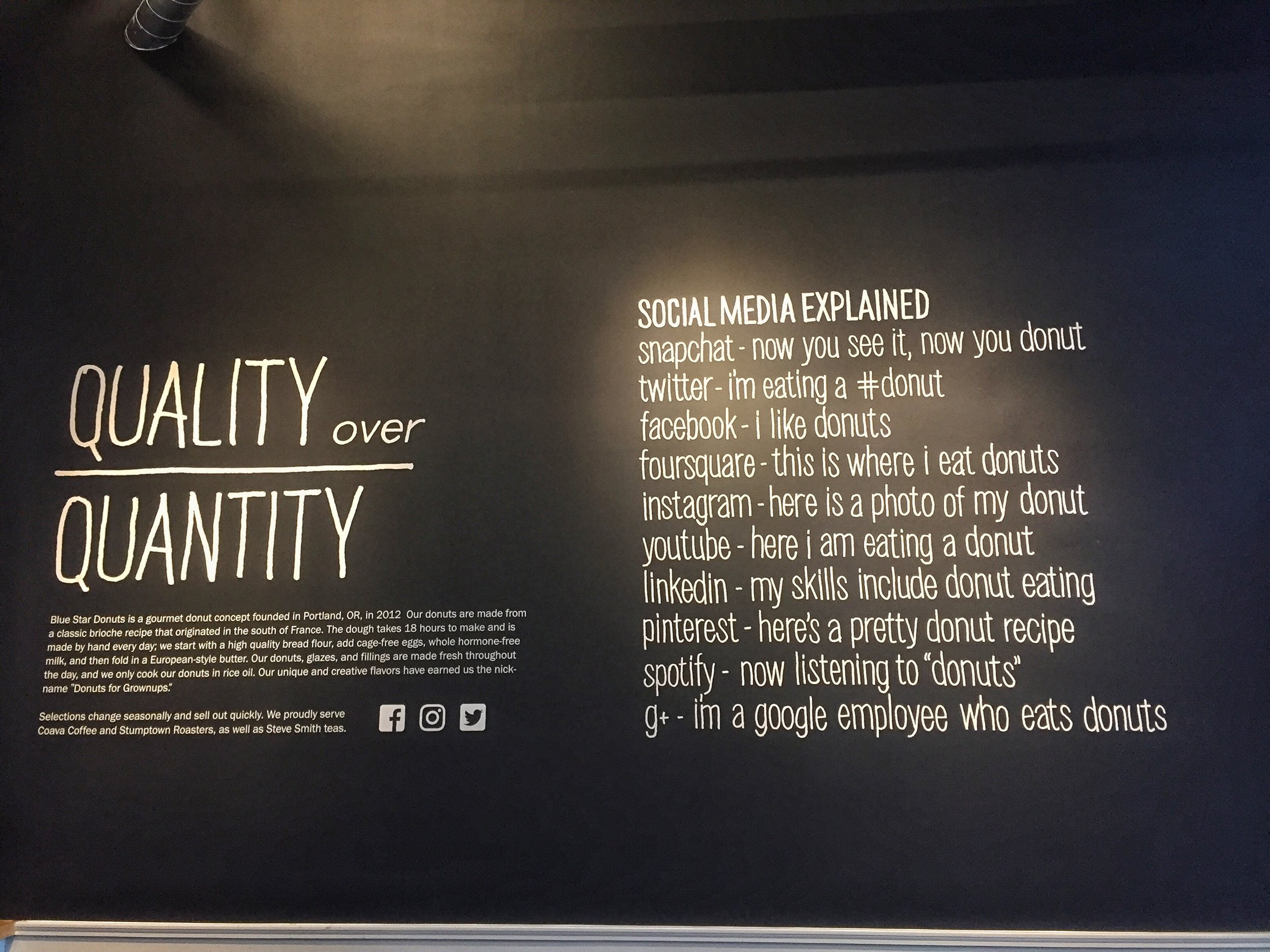 Social media explained at Blue Star Donuts.