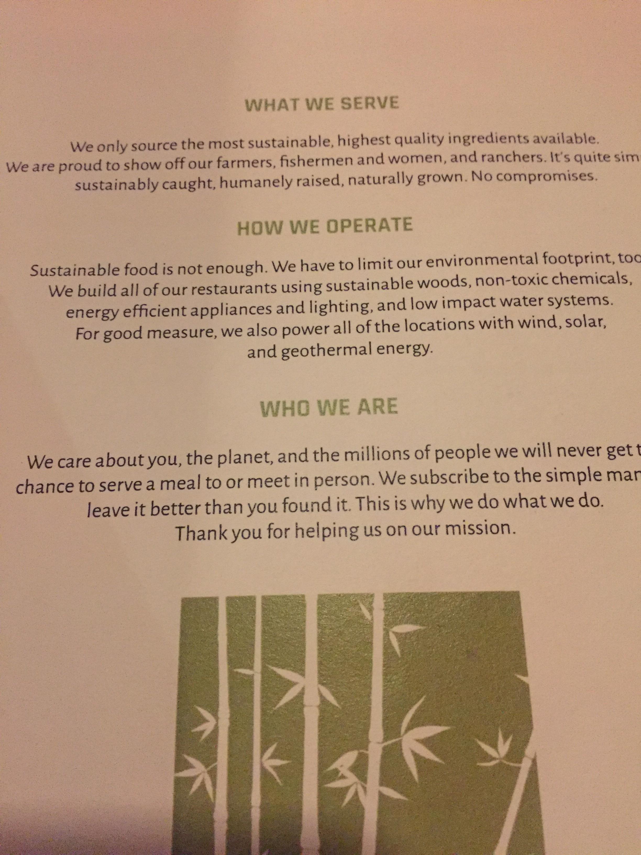 Bamboo Sushi Mission Statement.