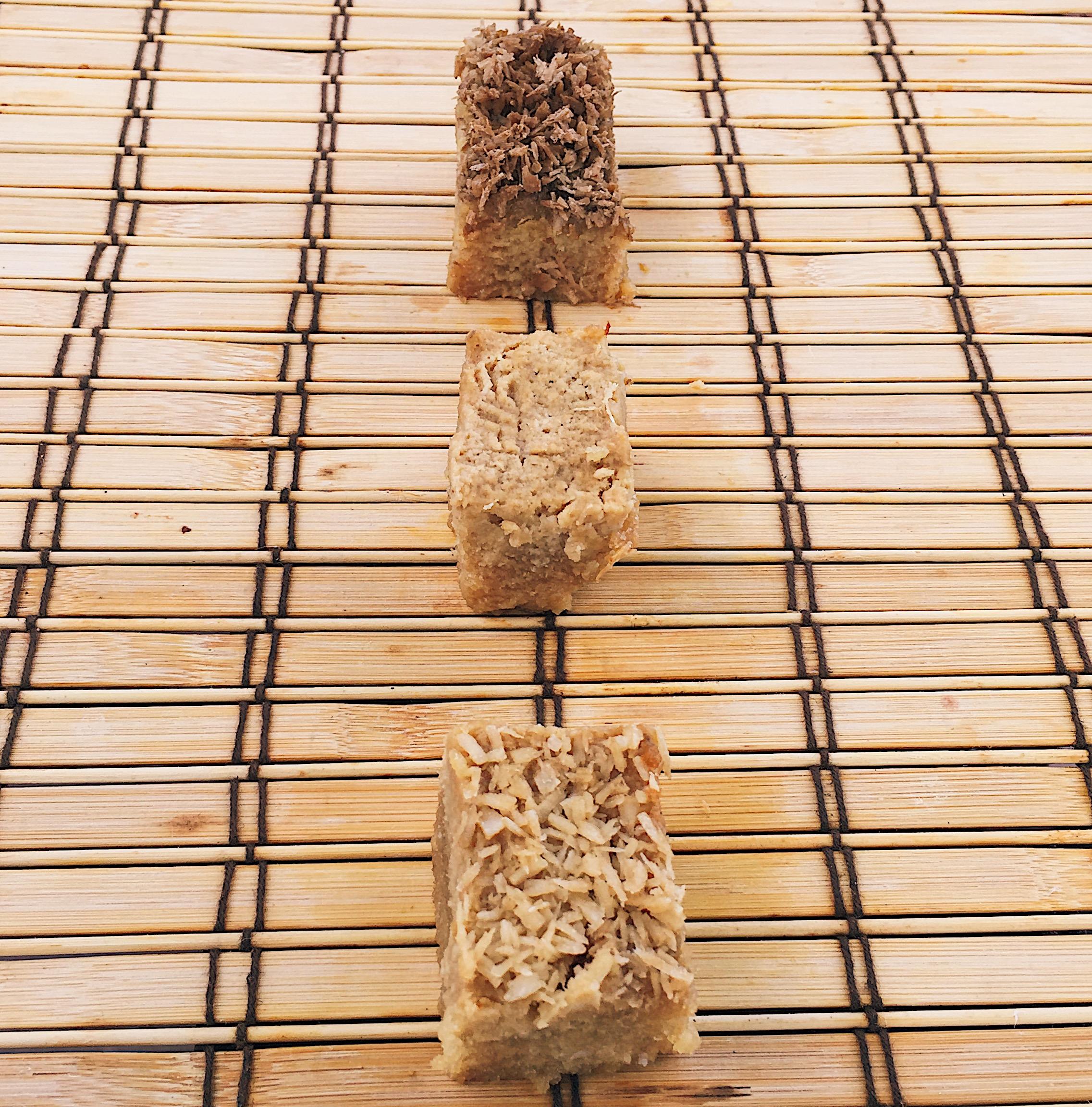 Filipino Cassava Cake on Parade: (top to bottom) Espresso, Plain, Coconut