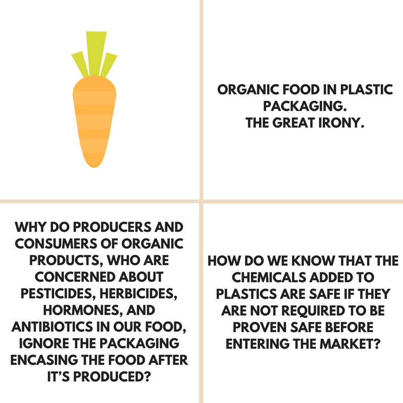 The great irony of organic food and plastic containers.