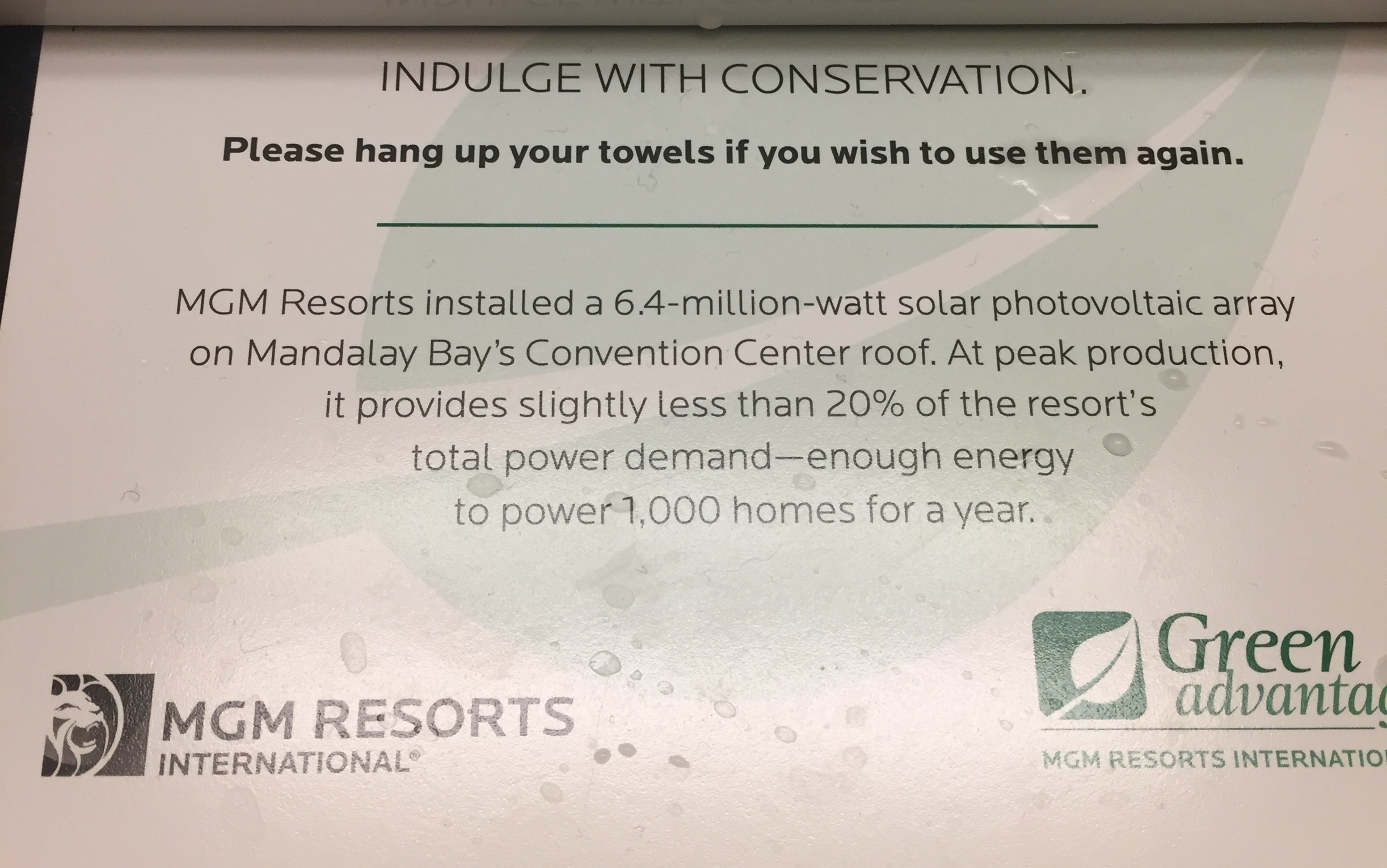 MGM Resorts has installed solar panels on Mandalay Bay's roof.