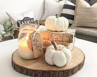 Use mini pumpkins and twigs as decor.  Found on Etsy from  RusticNaturalProduct : Click on the image to go to the site.