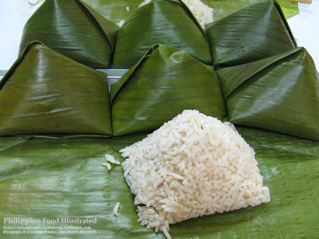Rice wrapped in banana leaves.