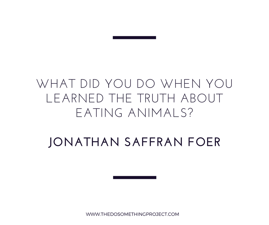 "A quote from ""Eating Animals"" by Jonathan Foer in response to factory farmed animals."