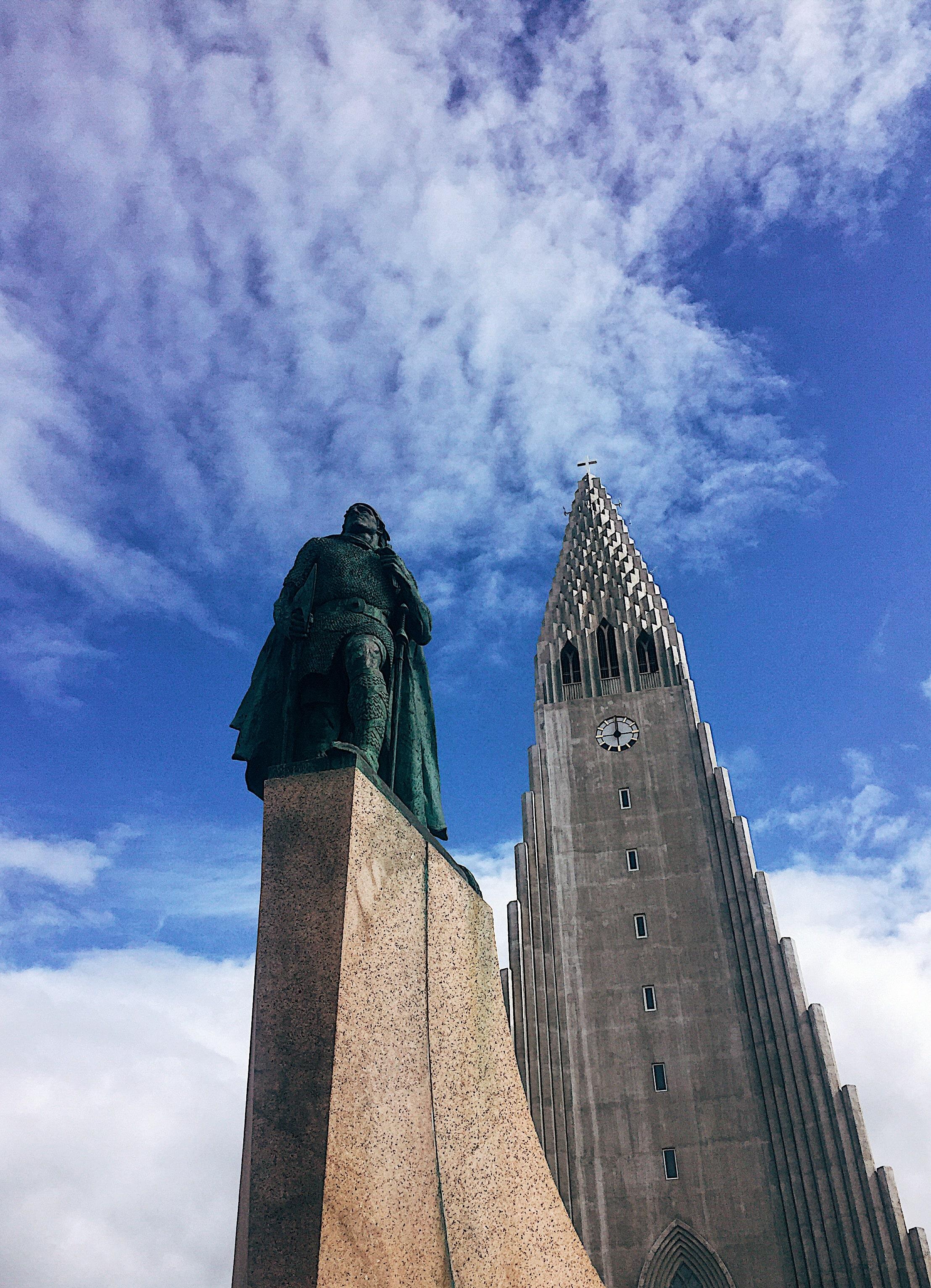 Viking and Christian contrast. Hallgrímskirkja, the tallest church in Iceland with Leif Eriksson, explorer.