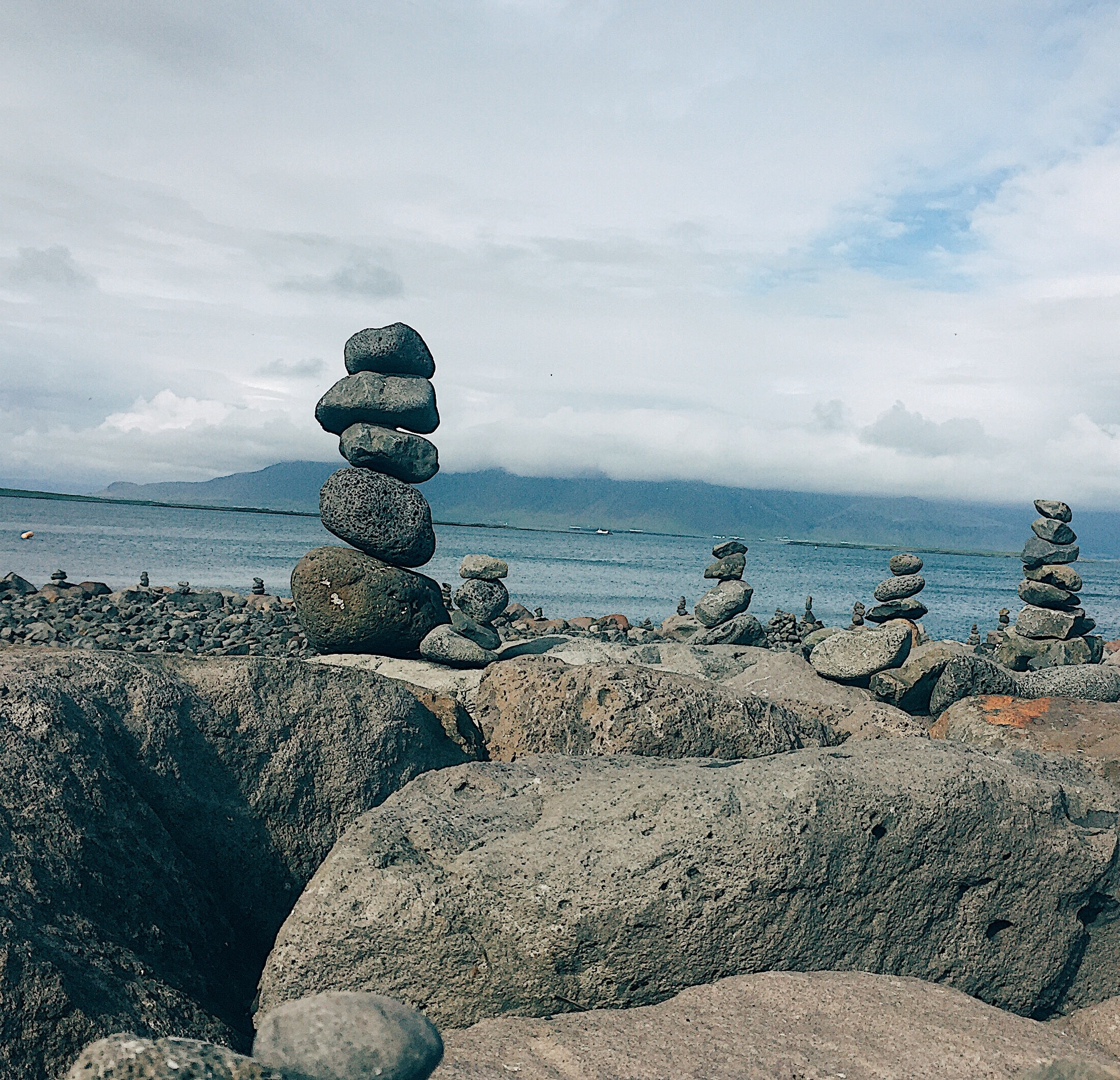 Stones on top of stones. Lots of cairns alongside roads. It was used pre-GPS days as a guide, but are discouraged as stone removal and displacement disrupts the land structure.