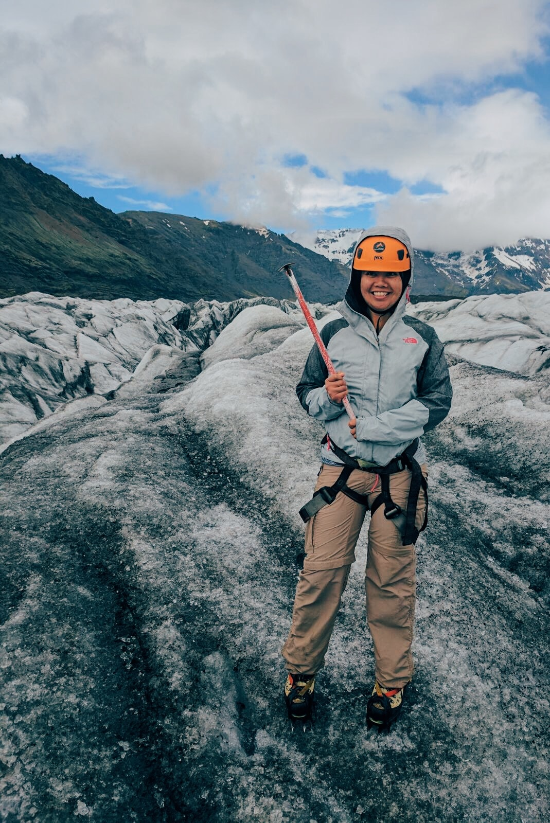 Full glacier hiking gear complete with ice ax. This is serious!