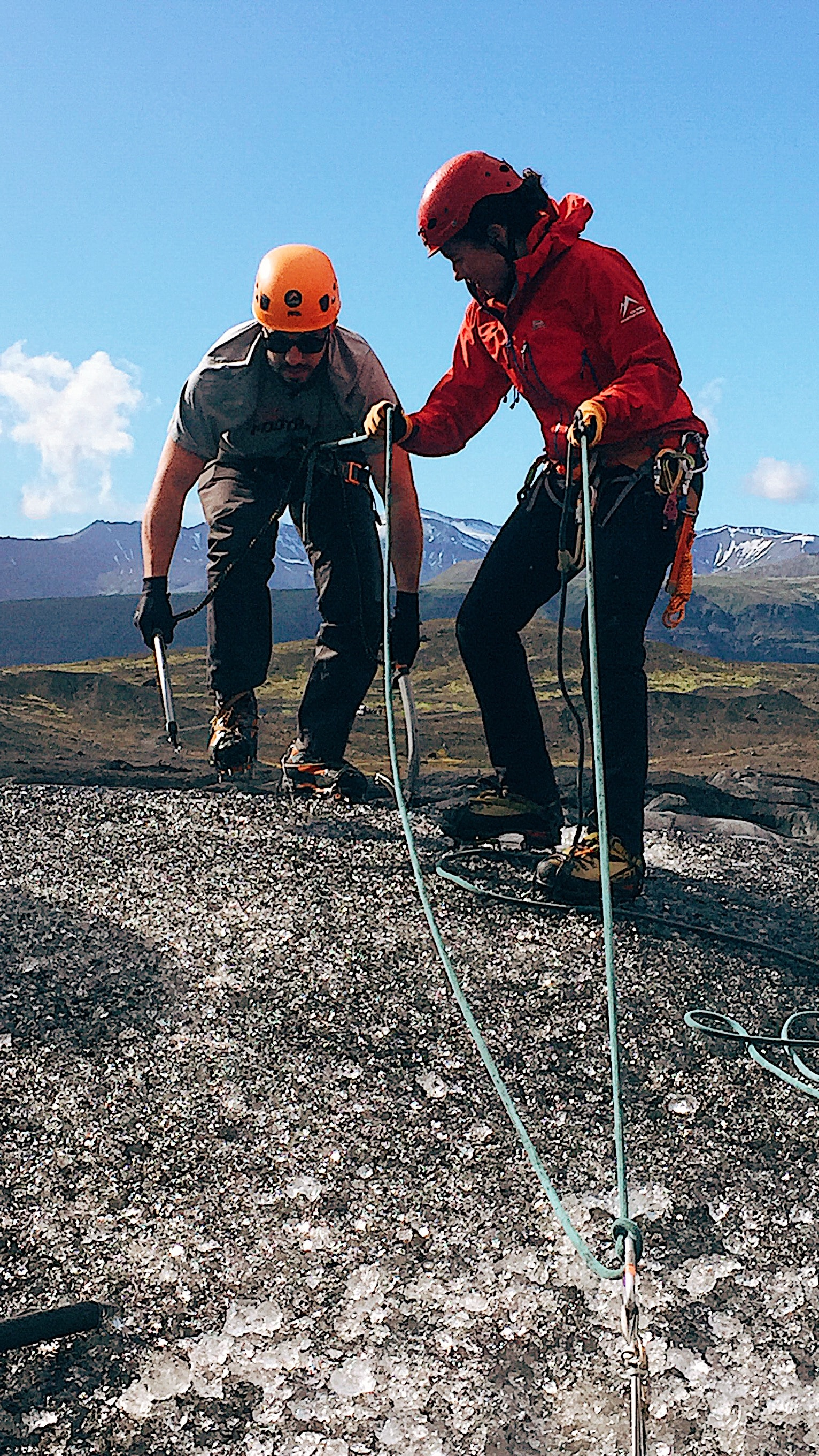 Getting ready to drop into a glacier crevasse and ice climb back up. #wheniniceland