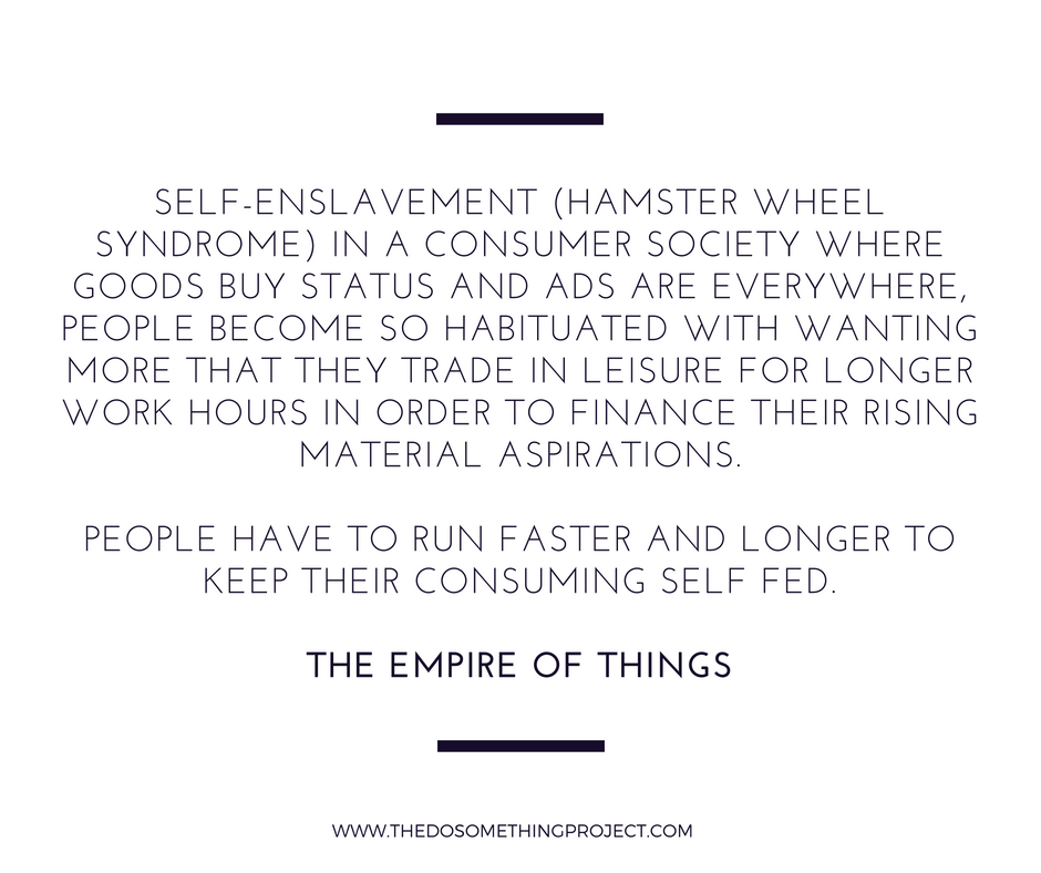 Empire of Things: Self enslavement (hamster wheel syndrome)