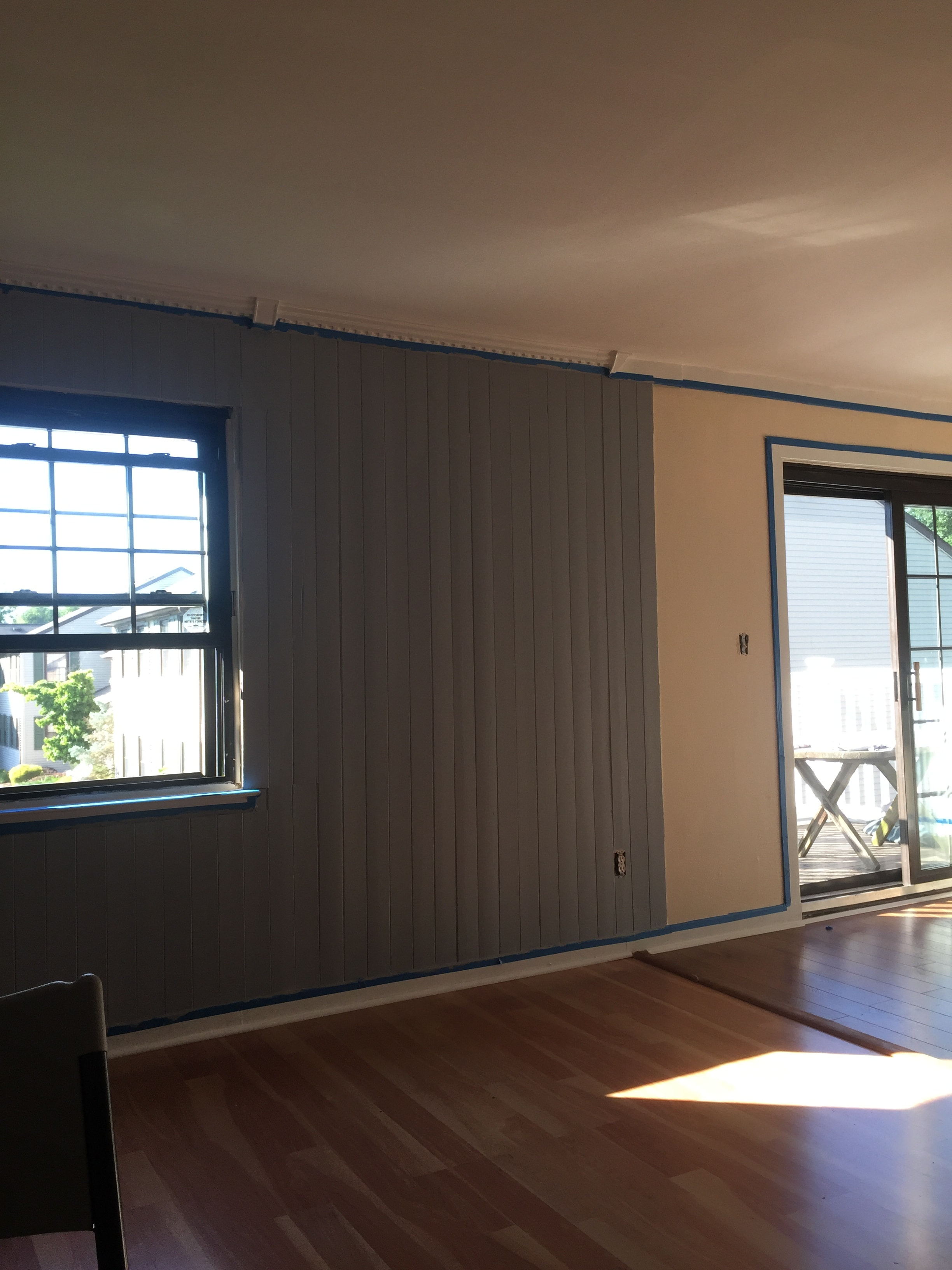 We painted with low VOC, water based paints for easy cleanup.