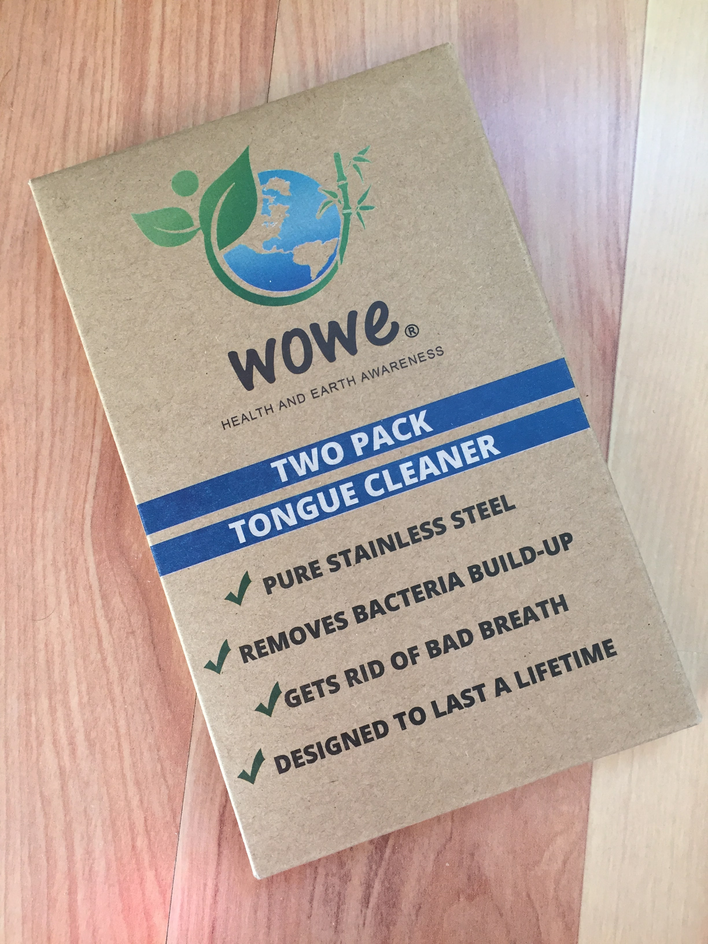 Wowe Tongue Cleaners are packaged in recyclable and compostable kraft paper.