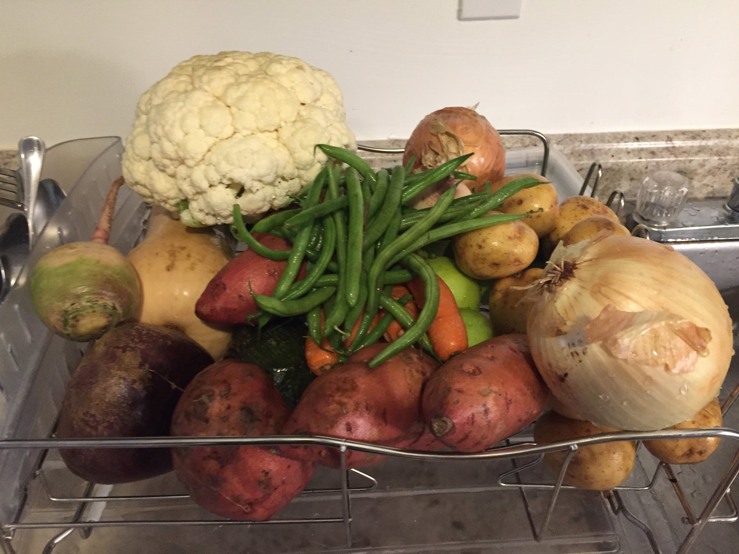 One week's worth of produce from Misfits Markets. Not pictured: greens. Costs around $24.