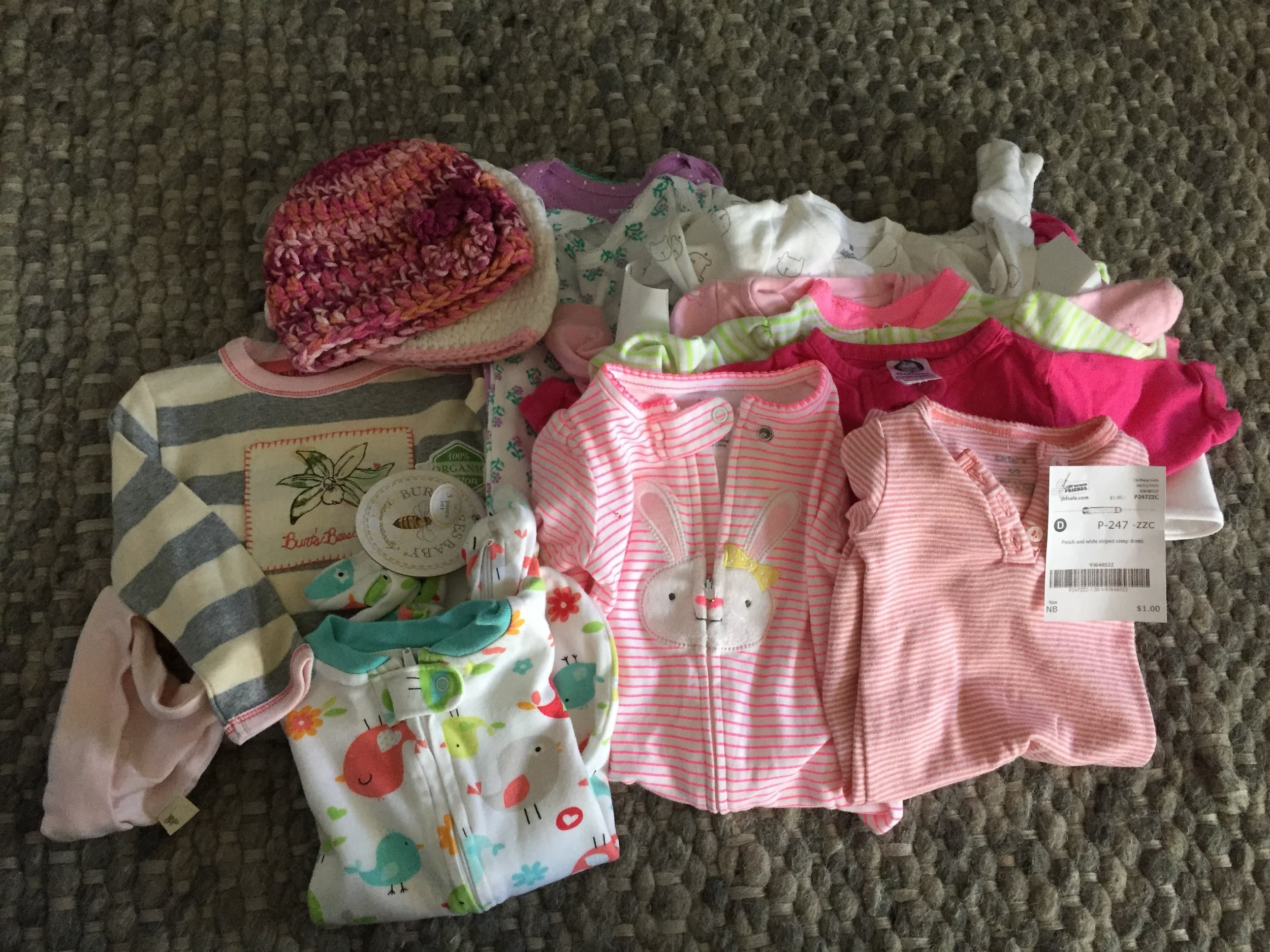 Cute baby clothes found at the Just Between Friends Sale.