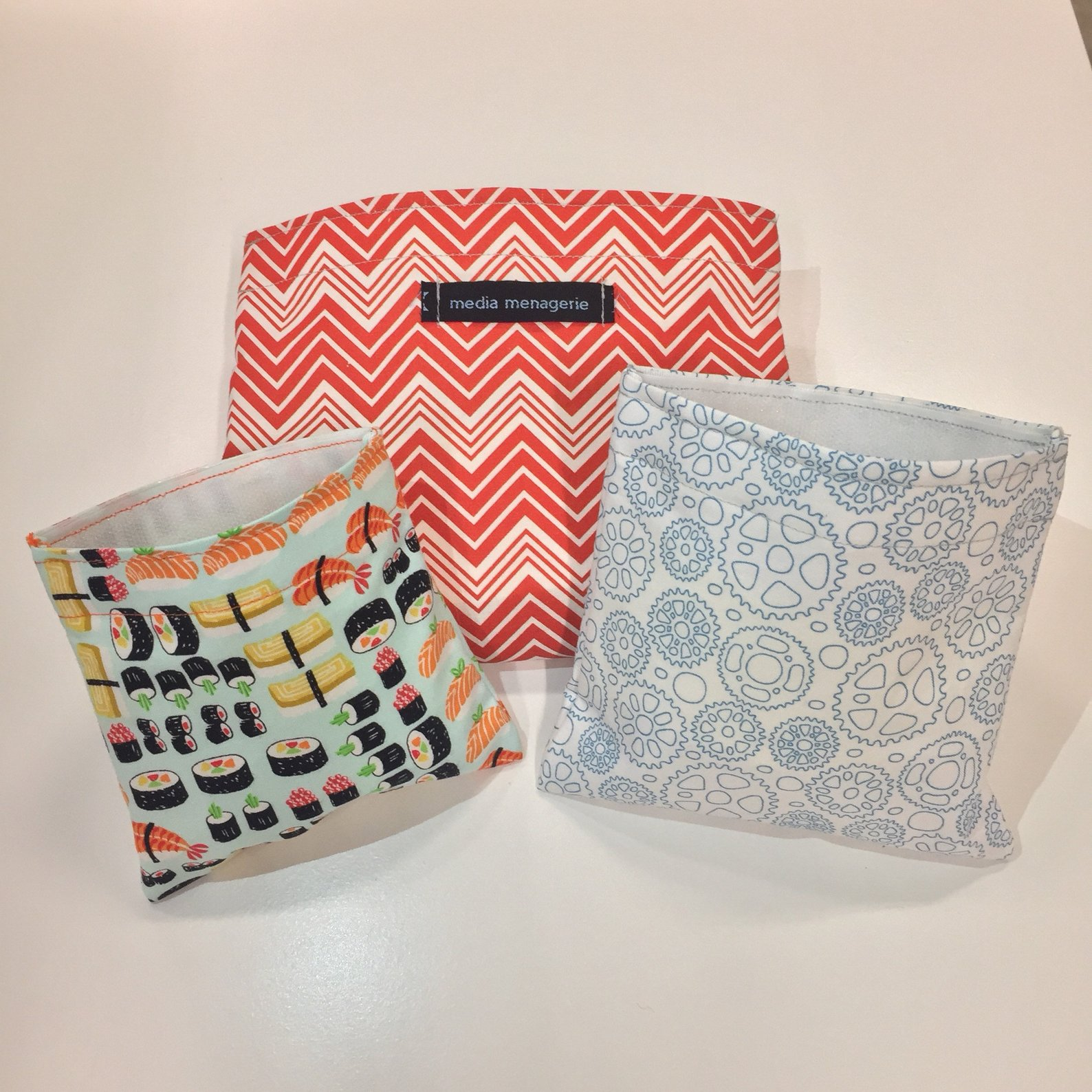 Found on Etsy from MediaMenagerie. Reusable snack bags.