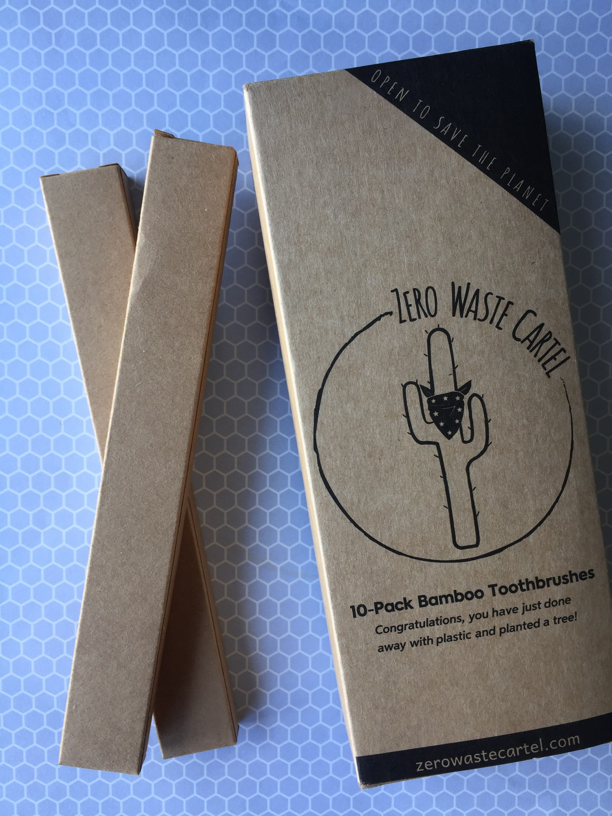 The bamboo toothbrushes from Zero Waste Cartel come in cardboard boxes and much easier to open than the plastic ones.