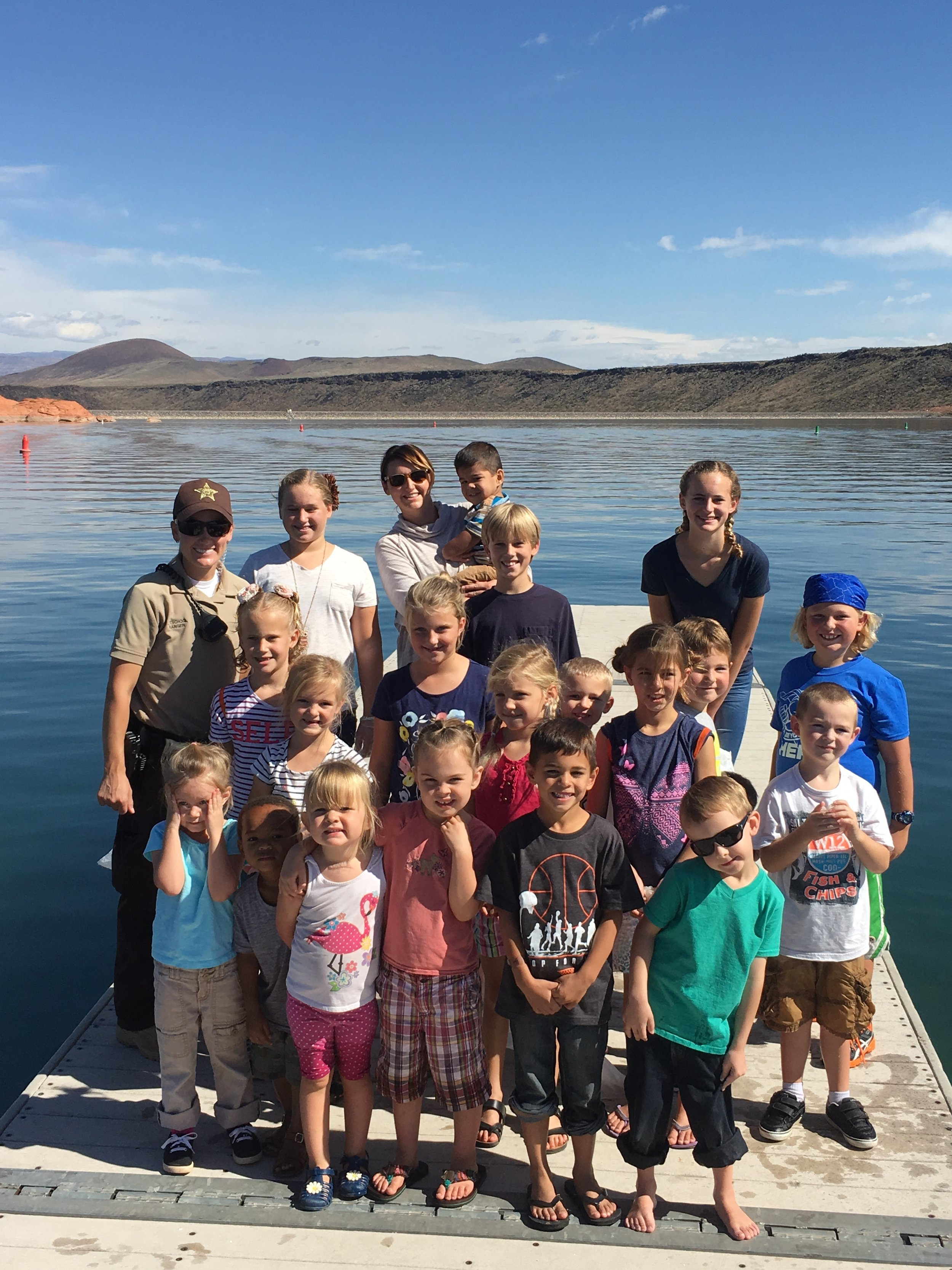 Our field trip group with a Ranger at Sand Hollow State Park.