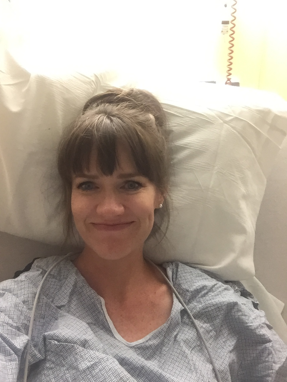 My pre-labor face! They had just hooked up my IV and given me meds to start my body into labor. I had hardly slept for a week because that doggone cholestasis keeps me up at night--so I knew it was time for this babe to make his appearance!