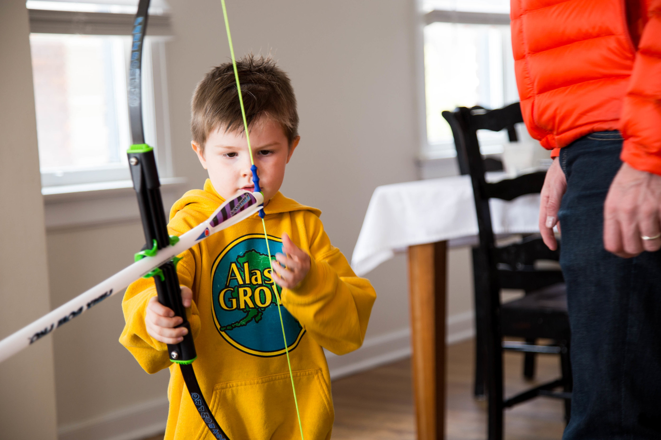 He's been taking about getting a bow and arrow for a good long time. So fun to see him use it!
