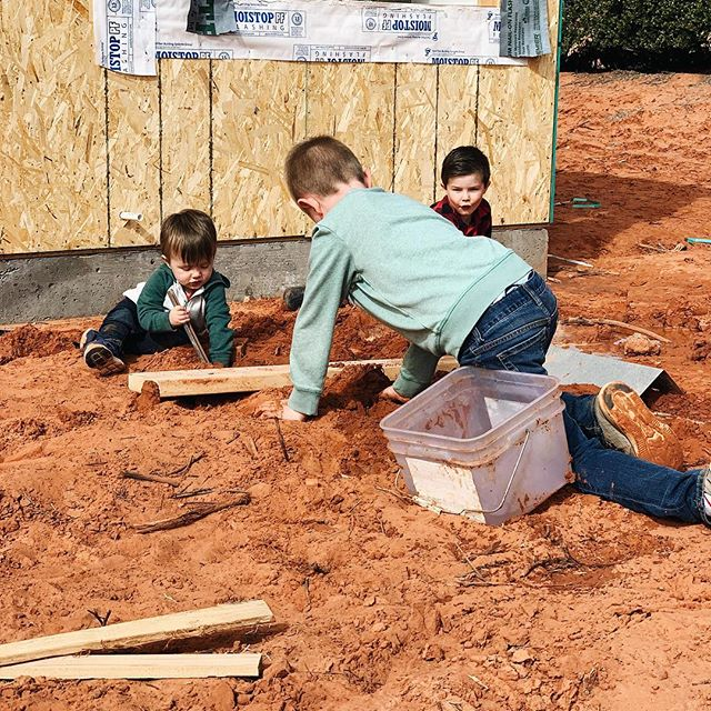 I had no idea how time consuming building a house is! I feel like it's another full-time job figuring everything out (and then second-guessing myself and figuring out again)! But it sure is so much fun to watch things come together/hoping things come together well.  These boys have been so patient. And so dirty—SO MUCH dirt! Once we move in I think I will need to hose them off multiple times a day before they enter the house!