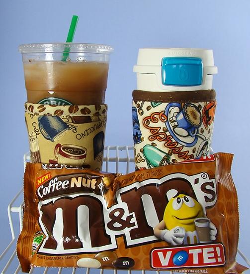 Thinsulate insulated Coffee Drinks Kup Kollar on cold take-out cup and Coffee Break Kup Kollar on Contigo tumbler.