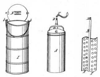 Hand-cranked ice cream churn invented and patented in 1843 by New Yorker Nancy Johnson. Courtesy U.S. Patent Office.
