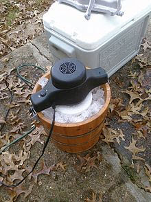 Today's ice-method churns have electric motors that save the labor of cranking by hand.