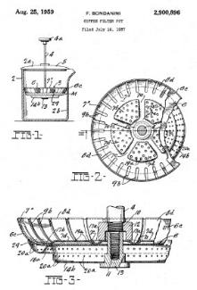 Faliero Bondanini's French press (Chambord) design. US Patent Office, 1957.