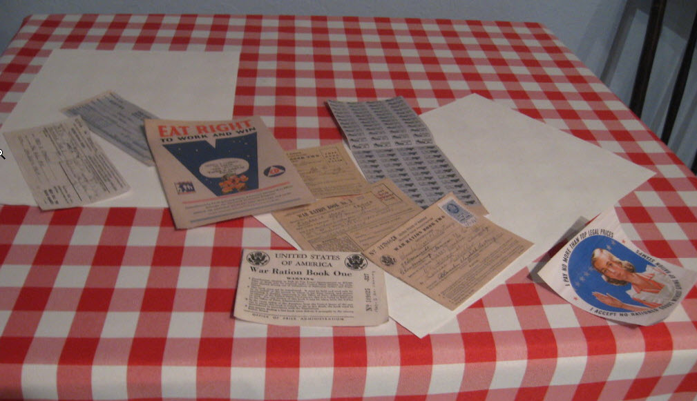 Typical American family table during World War II shows rationing booklet and stamps for many food products, including coffee. From the exhibit Home Front: Santa Clara Valley's World War II Experience History Park at Kelley Park San Jose, CA