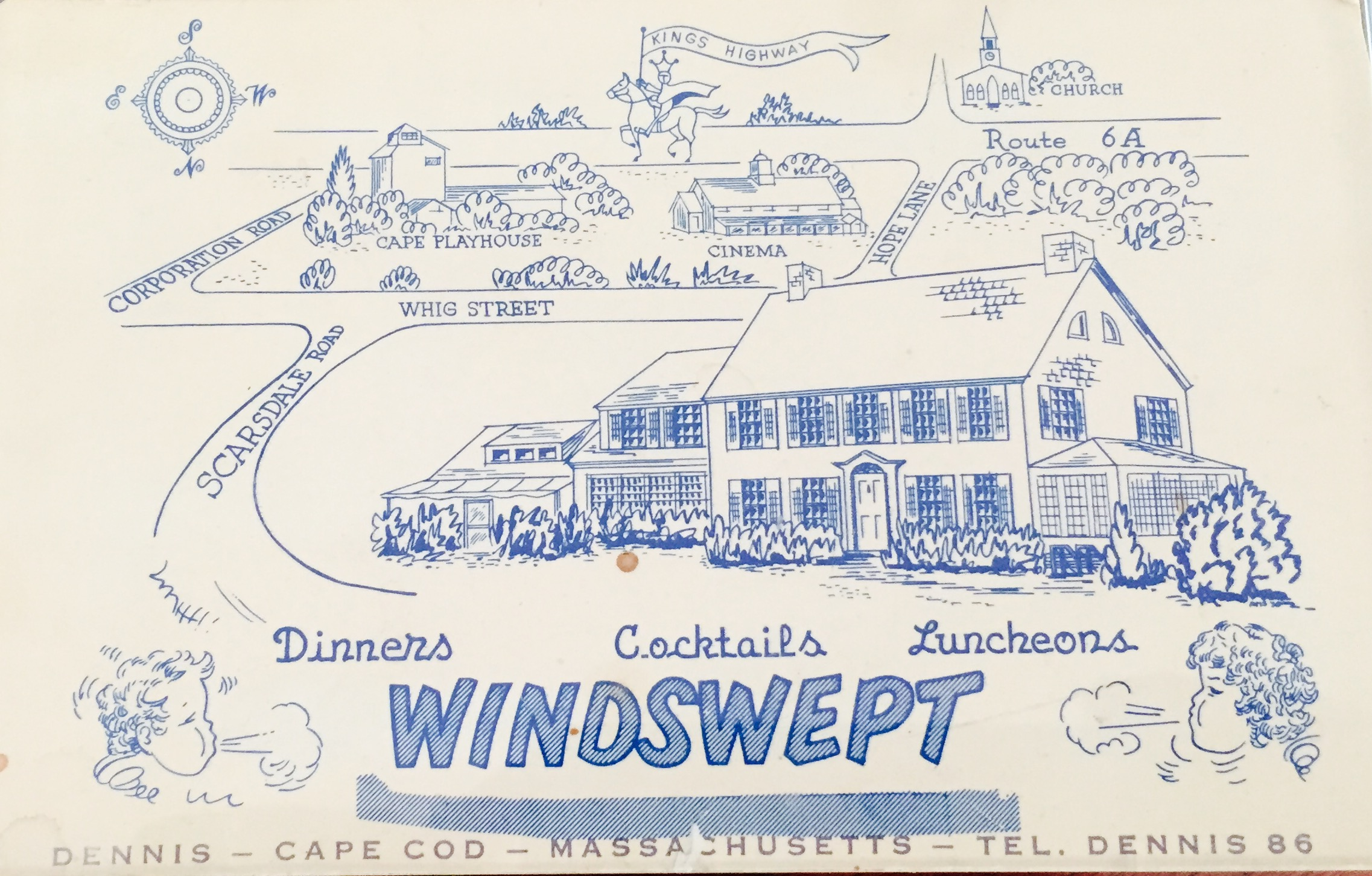 A post card for the Windswept Restaurant in the 1950s