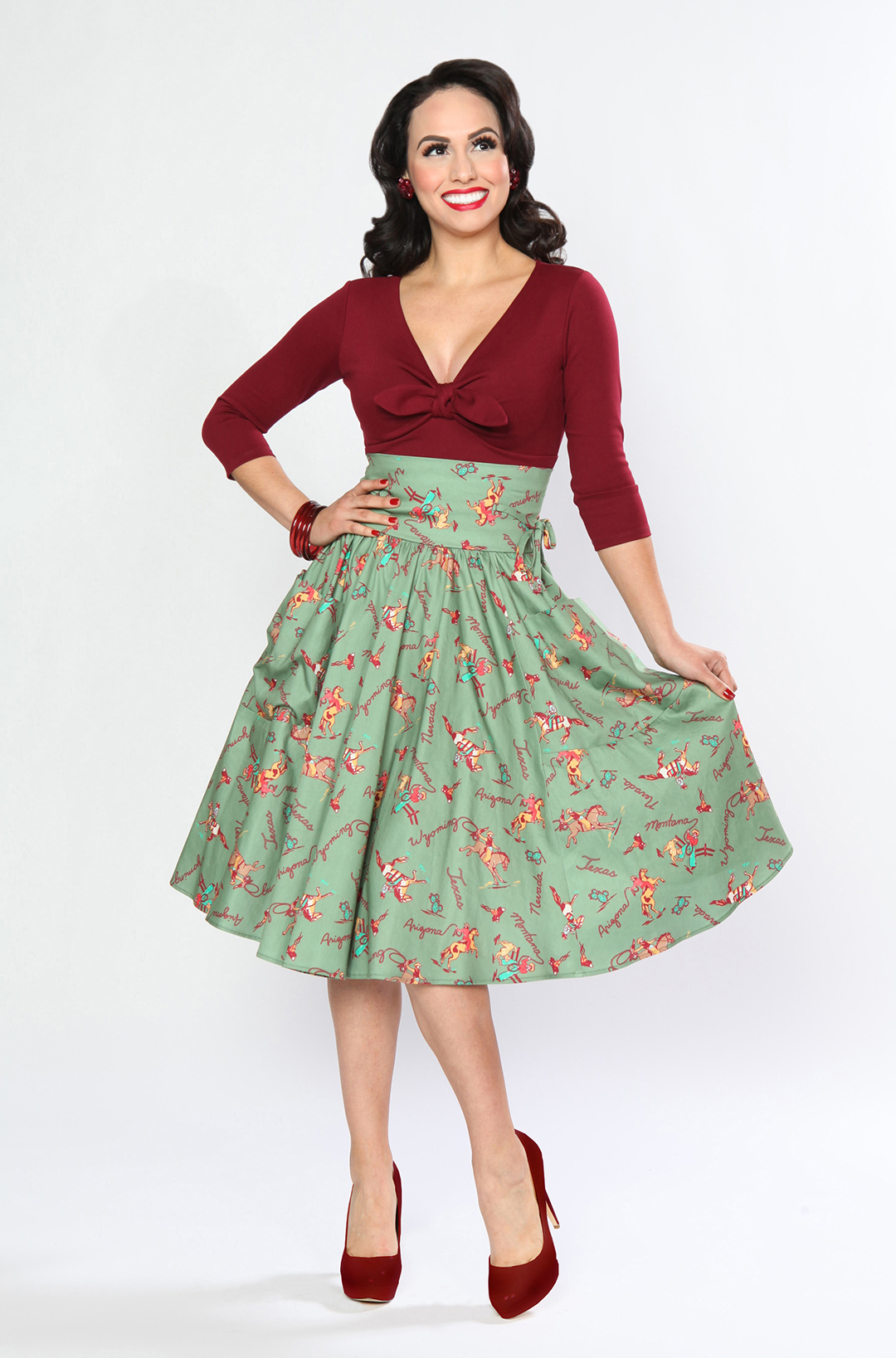 BD173637 Twist & Shout Top in Merlot  BD172638 Patio Skirt (Ranch Roundup)