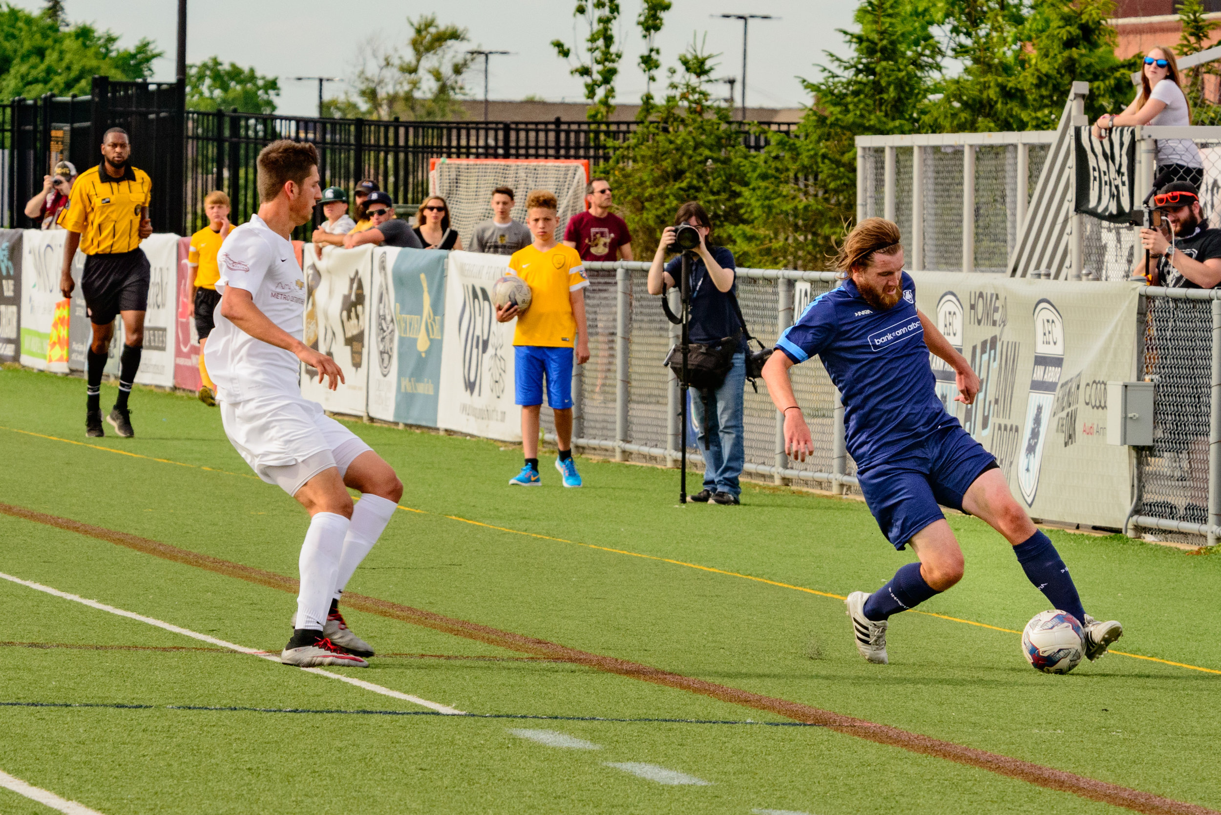 Leigh Rumbold controls the ball at Hollway Field on July 3rd vs. Detroit City FC