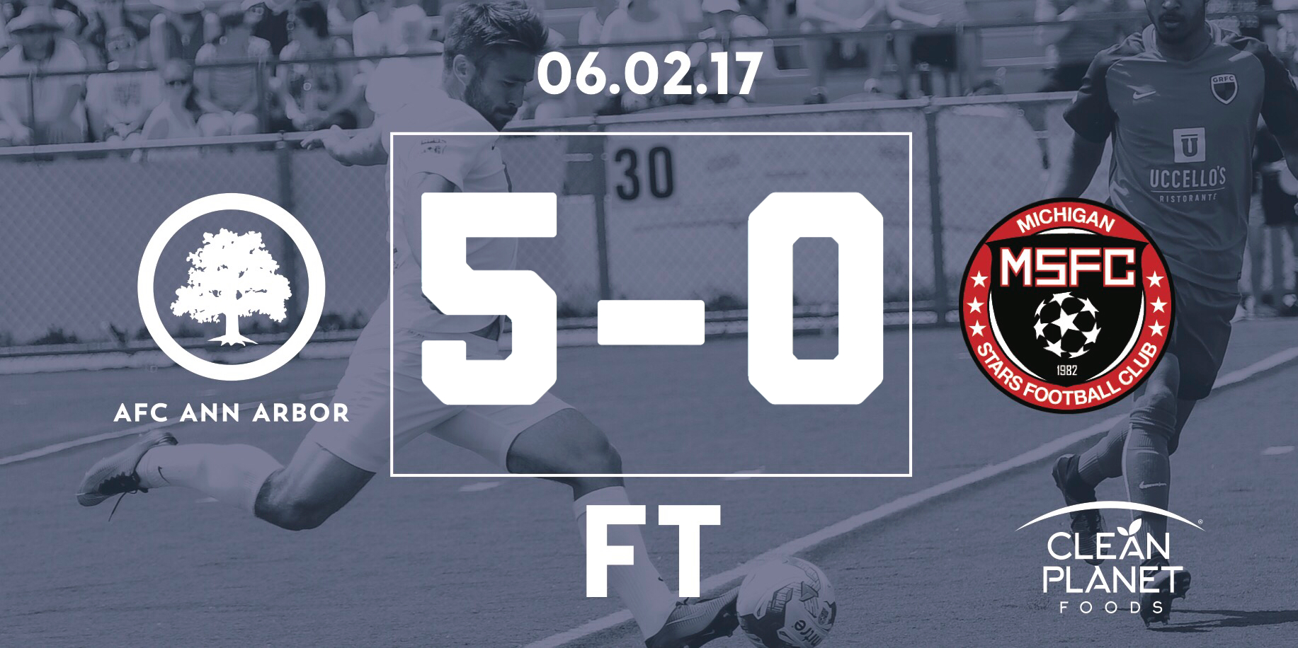 13' Jackson, 30' Breitmeyer, 53' Fiscus, 64' Lasinski, 72' Vaughan // Audi Ann Arbor Man of the Match: Jimmy Fiscus //  Match Recap