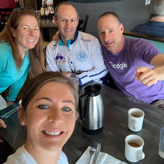 Curling for a Cause: Julie, Larry & Ray have been curling with Olympic Medalist, Eve Muirhead, as their Skip at the Lupus Bonspiel. Good luck and good Curling! 🥌😎👍🏻 @evemuirhead @hughlar33 @julesmacan  #TahoeCurling #LTEC #GoodCurling #Curling #Lupus #Cure #Bonspiel #OlympicMedalist