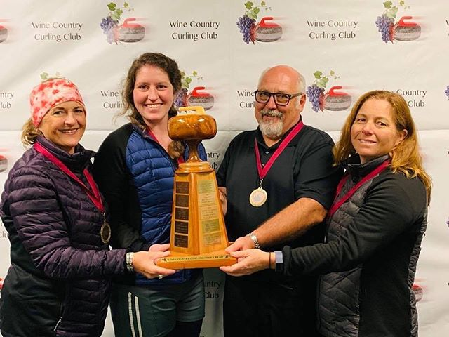 Crush Bonspiel Event Winners:: JEEBalicious from Lake Tahoe: Edie Hazard, Becca Kelble, Eric Hazard, Julie Macan. I guess all the practice on #DedicatedIce is paying off! @winecountrycurl #LakeTahoeCurling #LTEC #Bonspiel #GoodCurling #Curling #Competition #TeamWork #Tahoe #LakeTahoe