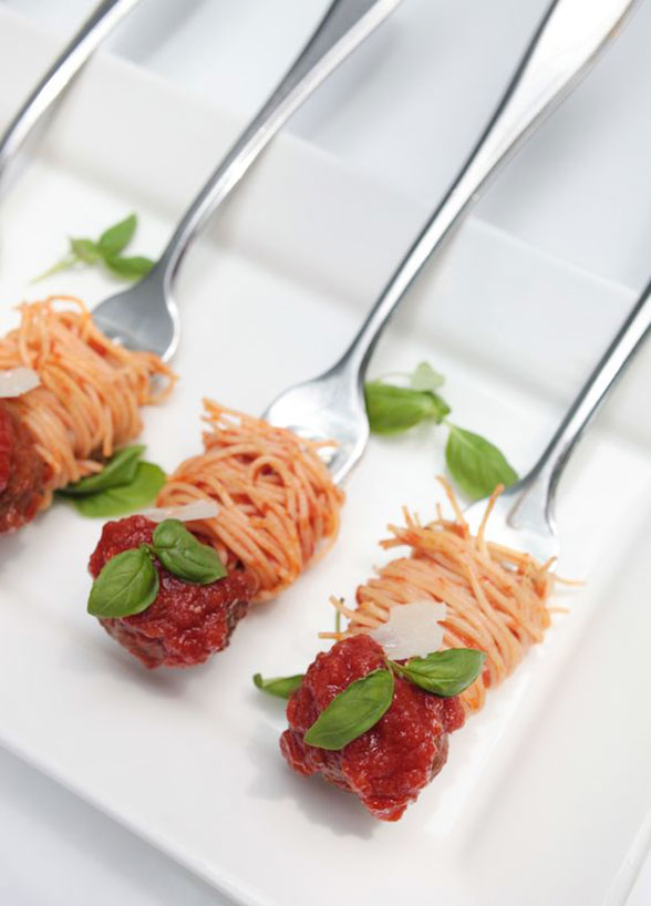 "Individual ""twirls"" of spaghetti and meatballs. GENIUS."