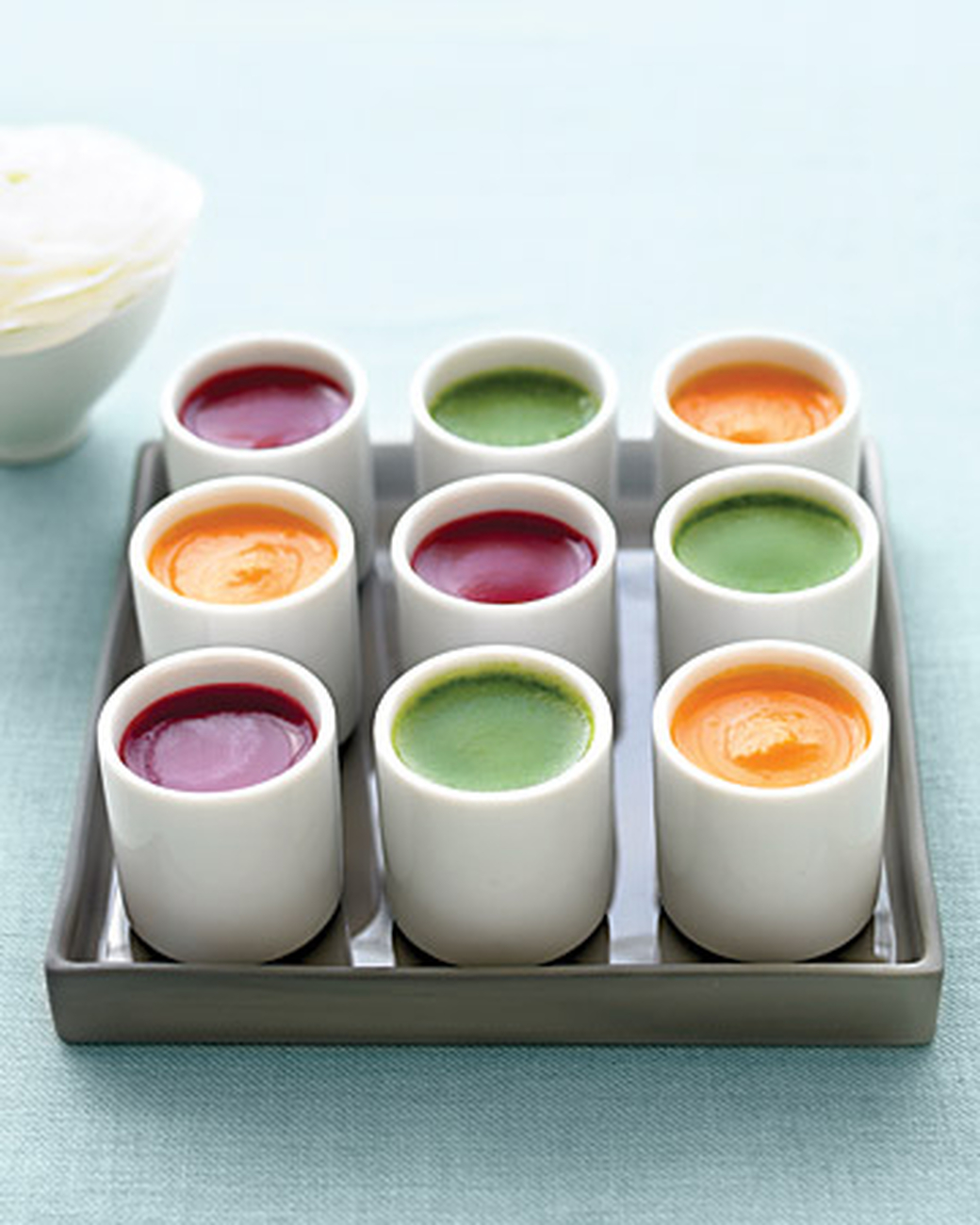 Savory soup shots  are a terrific idea for a chilly cocktail reception.