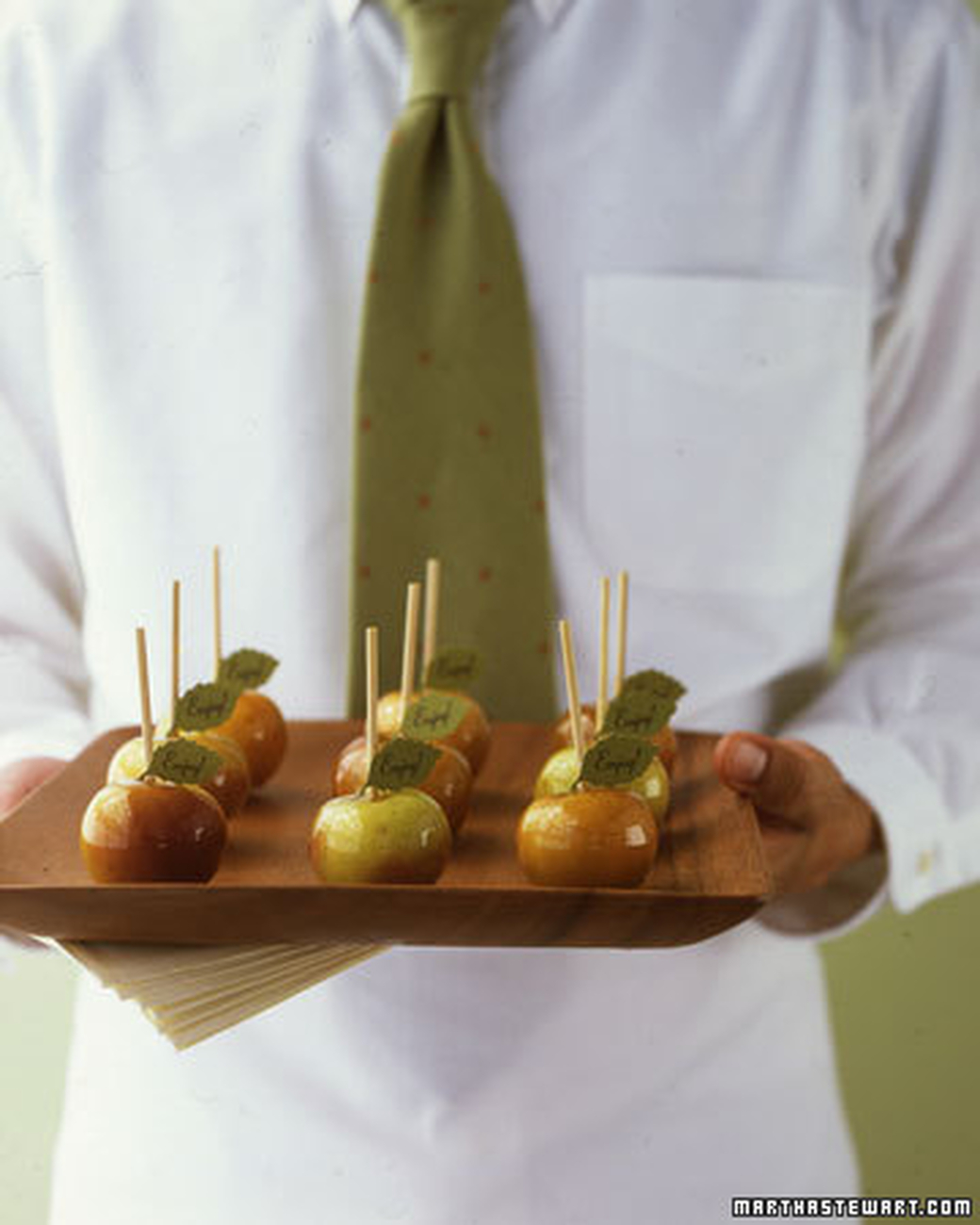 Miniature tart caramel apples  are another great add to your cocktail hour.