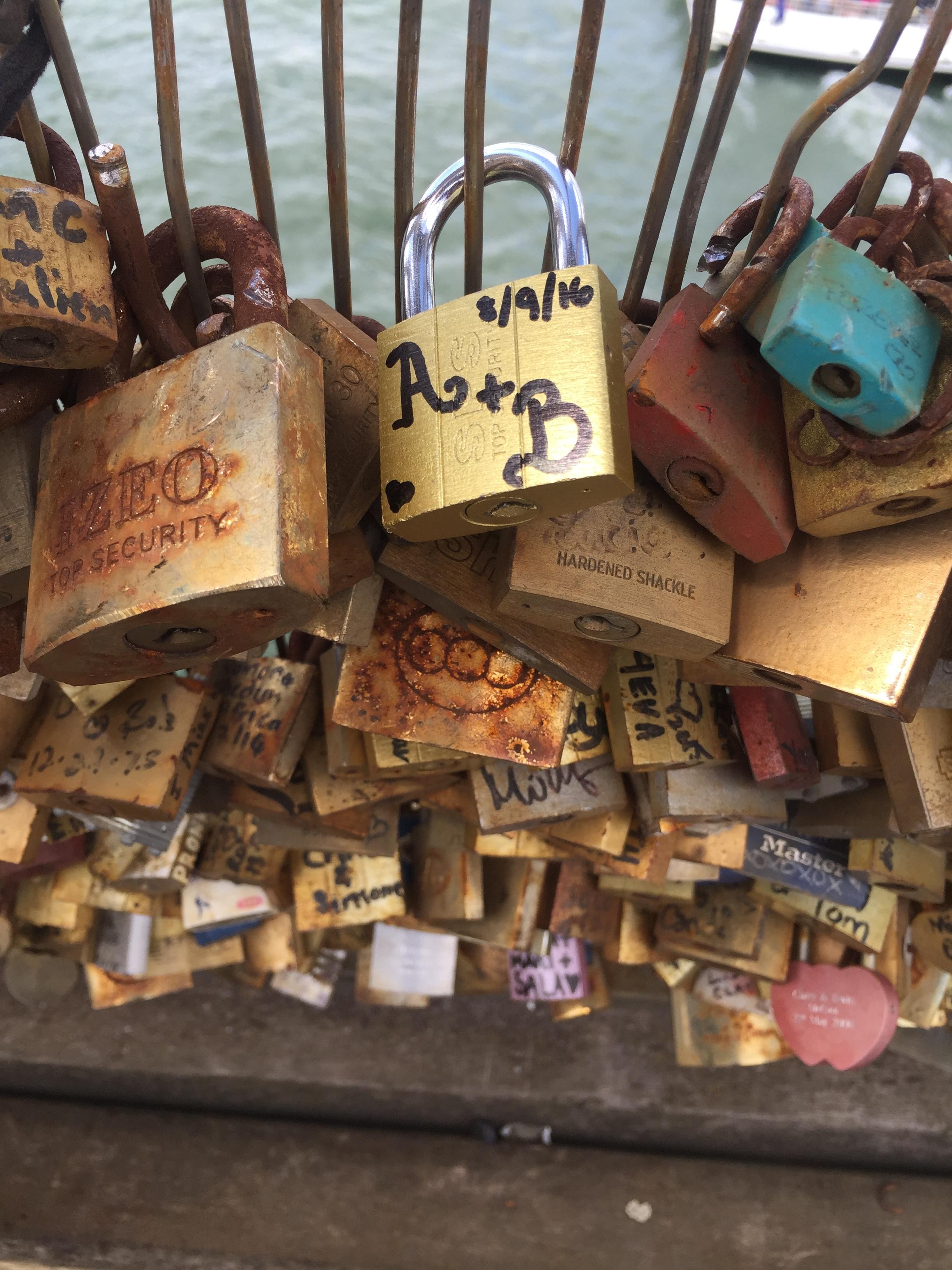 Brian and Adam's love lock on the Pont des Artes in Paris