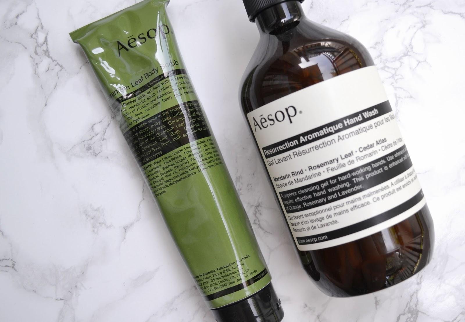 Aesop Geranium Leaf Body Scrub Resurrection Aromatic Hand Wash Review (1).jpg