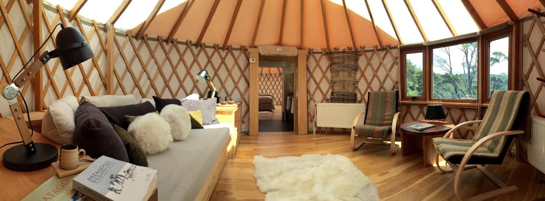 Inside a yurt.
