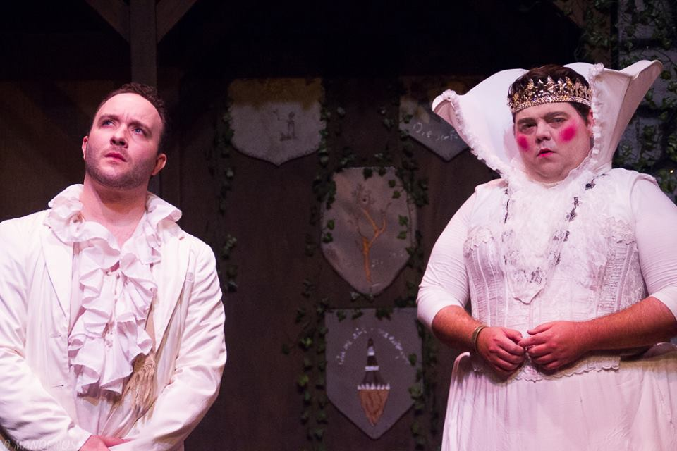 Jesse James Thomas as Cloten, Thomas Bigley as the Queen; photo by Mandi Moss